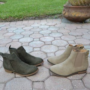Set of 2 CITY CLASSIFIED Pull On Suede BOOTIES